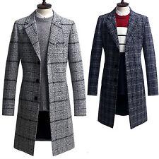 Herren Slim Fit Prüfen Long Coat Blazer Jacke Pullover Outwear Top K012 - S/M/L