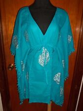 Victoria's Secret Moda Blue Caftan Kimono Sequined Beach Cover Up Dress XS New
