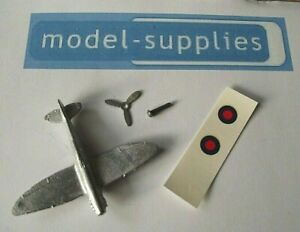 Spitfire Aeroplane Copy Dinky 62A with pin, Tin propeller & wing roundals kit