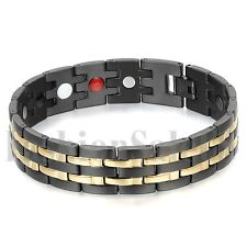 Men's Wide Comfort Black Gold Tone Stainless Steel Magnet Health Bangle Bracelet