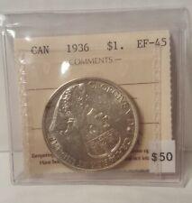 1936 Canada $1 Dollar Graded ICCS EF-45