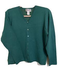 Pendleton Women's Sz L Sweater Silk Blend LS Button Down Emerald Green Cardigan