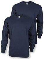 Gildan Men's Ultra Cotton Adult Long Sleeve T-Shirt, 2-Pack,, Navy, Size 4.0 z8g