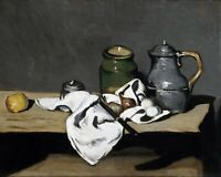 Still life with kettle by French  Paul Cézanne. Canvas Wall Art. 11x14 Print