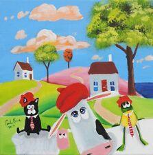 Cat cow sheep and frog original oil on canvas Gordon Bruce new UK folk art