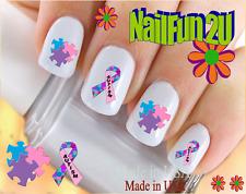 24 Nail Decals #6510 Autism Awareness Pink Ribbon Waterslide Nail Art Transfers