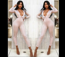Women Glitter Jumpsuit Stretchy Bodycon Party Pants Long Sleeves Multi Tie Strap