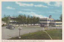 Parasol Hotel Motel & Cabines CHICOUTIMI Quebec Canada 1940-50s PECO Postcard A