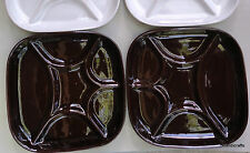 "Estriceram Fondue Plate x 2 Brown 9"" Canada Pottery Grill Seafood J Garnier 70s"