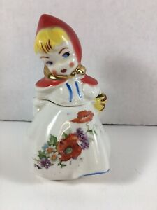 VINTAGE HULL LITTLE RED RIDING HOOD MUSTARD JAR POT~ NO SPOON~ Poppies