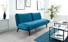 BRAND NEW Blue Velvet Modern Sofa Bed with Wooden Legs