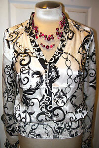 WHITE HOUSE BLACK MARKET sz 6-- SILK CHAIN BLOUSE--VERSATILE AND CHIC--NWT