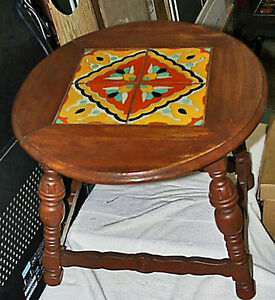 Exquisite Antique All Original 1930s Taylor Tile California Oval Table FS
