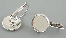 50 x Lever Back Earring Nickel Free Silver 12mm Round Bezel Blank Tray Brass