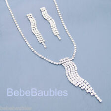 Stunning Crystal Necklace Set Silver Sp Elegant Wedding Birthday Gift Prom NEW