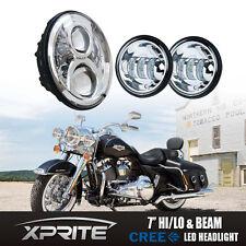 "7"" Chrome LED Projector Headlight + Fog Passing Lights For Harley Davidson"