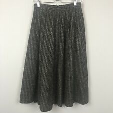 Vintage Cheap & Chic Moschino Women's 6 Wool Tweed Midi Pleated Front A-L Skirt