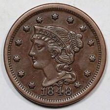 1848 N-20 R-3 Braided Hair Large Cent Coin 1c