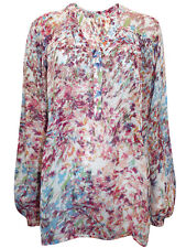NEW Next Pink Floral Print Notch Neck Long Sleeve Top Blouse 12 14 16 18 20