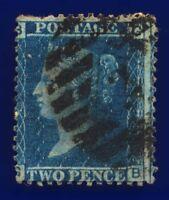 1858 SG45 2d Blue Plate 9 LC Type II G2 GB London '2' Good Used CV-FU £25 cbbn