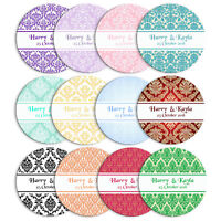 DAMASK STYLE PERSONALISED WEDDING BIRTHDAY BUSINESS STICKERS CUSTOM SEALS LABELS