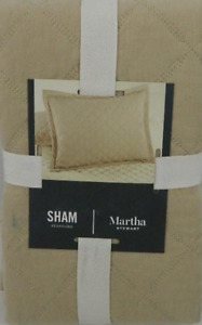 """Martha Stewart Tan Broadstitch Diamonds Quilted Standard Sham 20"""" x 28"""" MSRP $60"""