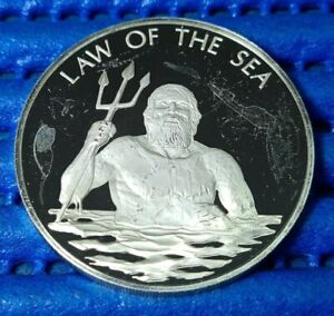1974 United Nations Law of the Sea Sterling Silver Proof Commemorative Medallion