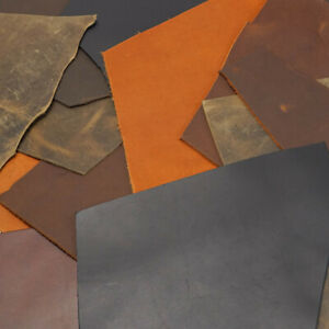 Assorted Oil Tan Leather Remnants 2 lbs Scrap Leather, Cheap, Good Quality, USA