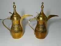 Vintage Set of 2 - Brass Saudia (Saudi) Arabia Pitchers - Middle Eastern