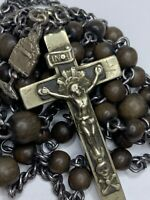 "† SCARCE XL ANTIQUE ROSARY MORI CROSS 35 1/2"" BLOOD OF JESUS MEDAL BURGESS †"