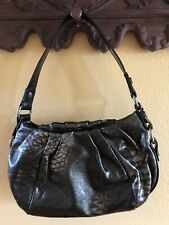 Simply Vera Wang Hobo Satchel Handbag Purse Shiny Metallic Black Clean