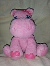 "Garanimals Pink Hippo Soft Baby Plush Animal Bow Blue Eyes 7"" Prestige #82281"