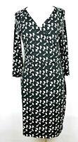 ANN TAYLOR Size L - BLACK & WHITE FAUX WRAP 3/4 SLEEVE STRETCH DRESS Knee Length