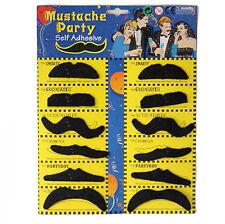 Set of 12 Stylish Costume Funny Party Fake Moustache Mustaches Black