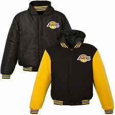 Los Angeles Lakers Youth Boy's Reversible Hooded Jacket - Black/Yellow - NBA