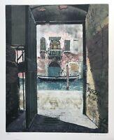 Josef Schibli *1925 Venedig Italien Blick durchs Tor Kanal Gondel Aquatinta