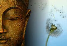 Enmarcado impresión oro de bronce de la cara de Buda con una flor de los deseos (Imagen Cartel