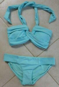 Seafolly Bikini Iceberg Goddess Bandeau Top AU 8 & Quilted Hipster Pant AU 10