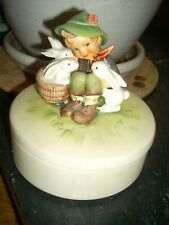 Hummel Boy with Rabbits Covered Dish Bunnies No Reserve