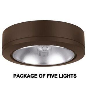 PACK OF 5 - SEA GULL 9858B-171 12V XENON DISK PUCK LIGHT, ANTIQUE BRONZE - 907