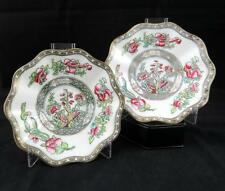 "COALPORT ENGLAND VINTAGE SET OF TWO INDIAN TREE 5 3/4"" SCALLOPED RIM SAUCERS"