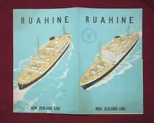 S.S. RUAHINE (NEW ZEALAND LINE) FOLD-OUT BROCHURE