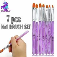 7pcs Purple NAIL BRUSH SET Acrylic UV Builder Gel Nail Polish Art Painting KIT