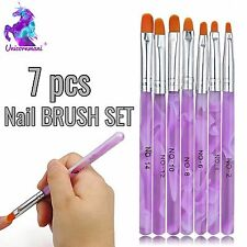7pcs Viola Nail Brush Set Acrilico UV BUILDER GEL SMALTO ART KIT DI PITTURA