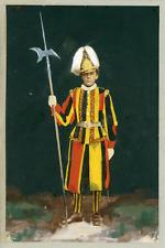 Militaire, Garde suisse en uniforme, ca.1890, vintage painted albumen print Vint