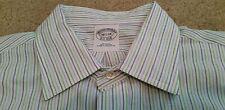 Brooks Brothers Est 1818 L/S Shirt Slim Fit White Blue Green Striped 16 1/2 34