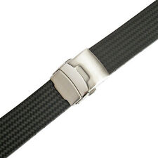 22mm Bonetto Cinturini 400 Black Rubber Carbon Fiber Deployant Watch Band Strap