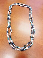Long Necklace, Genuine Freshwater Pearls Necklace, Multi Color Pearls Necklace