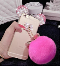 3D Cute Bling Diamond Mickey Mouse Plush Ball Soft Strap Case Cover Cell Phone