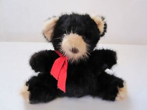 1982 Rare Bear, Inc. Vintage Genuine Mink Teddy Bear in Black, Brown, Red Bow